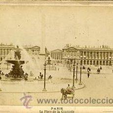 Fotografía antigua: FOTOGRAFIA ANTIGUA. ALBUMINA. LA PLACE DE LA CONCORDE. PARIS. PERIER EDITEUR. GABINET. Lote 27701199