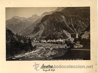 FOTOGRAFIA ANTIGUA. ALBUMINA. AMSTEG. CHEMIN DE FER DU ST GOTTHARD. 1890 (Fotografía Antigua - Albúmina)