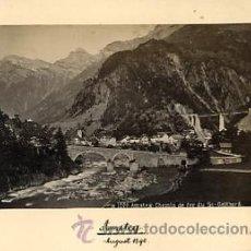 Fotografía antigua: FOTOGRAFIA ANTIGUA. ALBUMINA. AMSTEG. CHEMIN DE FER DU ST GOTTHARD. 1890. Lote 27806062