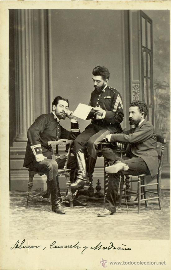 MILITAR PINTOR. JOSÉ CUSACHS. CAPITAN DE ARTILLERÍA. HACIA 1875. FOTO EXCEPCIONAL. (Fotografía Antigua - Albúmina)
