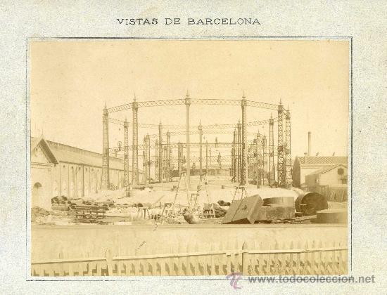 CONSTRUCCIÓN DE FÁBRICA DE GAS EN BARCELONA. CIRCA 1880. ALBÚMINA SOBRE CARTÓN DE 32,5 X 25 CMS. (Fotografía Antigua - Albúmina)
