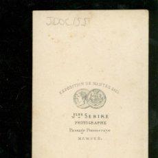 Fotografía antigua: FOTOGRAFIA ANTIGUA DE JLES. SEBIRE. EXPOSITION DE NANTES 1861. . Lote 28586120