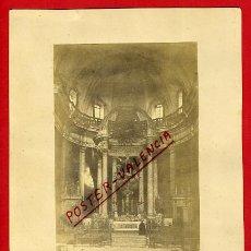 Fotografía antigua: FOTOGRAFIA ALBUMINA OLOT, GERONA , IGLESIA SAN ESTEBAN, ALTAR MAYOR, ORIGINAL, P26. Lote 31226817