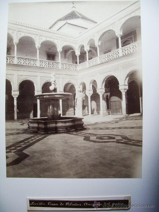 1888-PATIO DE LA CASA DE PILATOS.SEVILLA. FOTÓGRAFO CASTILLO. FOTO ORIGINAL.ALBÚMINA (Fotografía Antigua - Albúmina)
