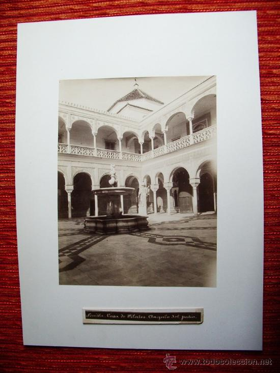 Fotografía antigua: 1888-PATIO DE LA CASA DE PILATOS.SEVILLA. FOTÓGRAFO CASTILLO. FOTO ORIGINAL.ALBÚMINA - Foto 2 - 31243742