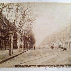 Fotografía antigua: FOTOGRAFIA, BARCELONA, GRAN VIA, PASEO CENTRAL. FOTO A. ESPLUGAS AÑO 1890 APROX. . Lote 31357002