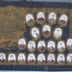 Fotografía antigua: ORLA DE FACULTAD DE DERECHO DE BILBAO, CURSO 1901. 65X51 CM. 21 RETRATOS A LA ALBÚMINA SOBRE CARTÓN. Lote 31601679