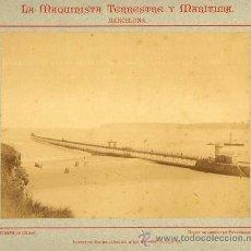 Fotografía antigua: FOTOGRAFIA.DIQUE DE HIERRO PUERTO.1887.BILBAO-EUZKADI. CONSTRUIDO POR LA MAQUINISTA DE BARCELONA. Lote 32208398