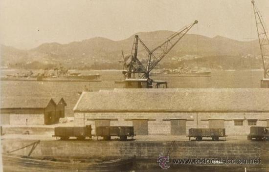 FOTO ORIGINAL AÑOS 40 FARO DE VIGO - PACHECO - ESCUADRA ESPAÑOLA EN VIGO (Fotografía Antigua - Albúmina)