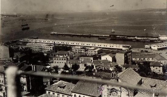FOTO ORIGINAL AÑOS 40 FARO DE VIGO - SARABIA - EL BERBES VISTA GENERAL DESDE PASEO DE ALFONSO XII (Fotografía Antigua - Albúmina)