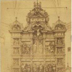 Fotografía antigua: FOTOGRAFIA ALBUMINA DEL RETABLO CAPILLA REAL.CA. 1880. GRANADA-ESPAÑA. FOT. GARZON.. Lote 33784653