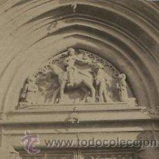 Fotografía antigua: FOTOGRAFIA ALBUMINA. DETALLE DEL PORTICO DE SANT MARTÍ DE PROVENÇALS. BARCELONA. CA. 1880. Lote 33913021