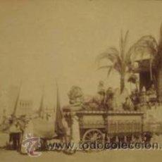 Fotografía antigua: FOTOGRAFIA ALBUMINA DE PABLO AUDOUARD. CARROZA DE LA CABALGATA DE REYES. BARCELONA. CA. 1880. Lote 34213044