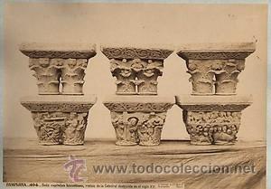 FOTOGRAFIA ALBUMINA DE J. LAURENT.6 CAPITELES BIZANTINOS. PAMPLONA-ESPAÑA. CA. 1870. (Fotografía Antigua - Albúmina)