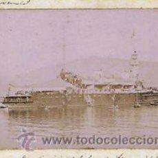 Fotografía antigua: FOTOGRAFIA DEL BREMRUS - BARCO INSIGNIA ESCUADRA FRANCESA DEL MEDITERRÁNEO EN EL PUERTO DE BARCELONA. Lote 34562720