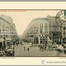 Fotografía antigua: MÁLAGA, PLAZA DE LA CONSTITUCIÓN Y CALLE LARIOS, HACIA 1910. Lote 34757904