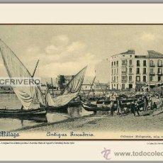 Fotografía antigua: MÁLAGA, ANTIGUA PESCADERÍA (ACTUAL AVENIDA DE MANUEL AGUSTÍN HEREDIA), HACIA 1900. Lote 34758170