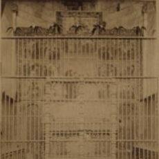 Fotografía antigua: FOTOGRAFIA ALBUMINA DE UNA REJA DE CAPILLA DE LA CATEDRAL DE BARCELONA-CATALUNYA. C1875.. Lote 34952406