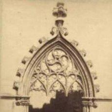 Fotografía antigua: FOTOGRAFIA ALBUMINA DE LA PUERTA DEL DEL MONASTERIO DE POBLET-TARRAGONA. P.P. FOT. CA. 1875. . Lote 34964542