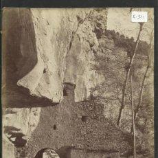 Fotografía antigua: SAN MIQUEL DEL FAY- PART POSTERIOR DE LA PORTADA -MED.16X21CM.FOT.ARTISTICA , PONIENTE 38, - (F-311). Lote 35228970