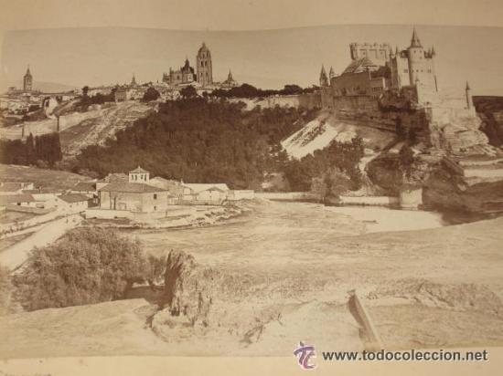 DOS VISTAS DE SEGOVIA Y TOLEDO, DE LEVY, MONTADAS EN LA MISMA HOJA DE ÁLBUM ANTIGUO (VER IMÁGENES) (Fotografía Antigua - Albúmina)
