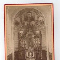 Fotografía antigua: ALTAR DE IGLESIA POR IDENTIFICAR, 1890'S. FOTO CABINET. FOTO: AUDOUARD, BARCELONA. 11X16,5 CM. Lote 35810325