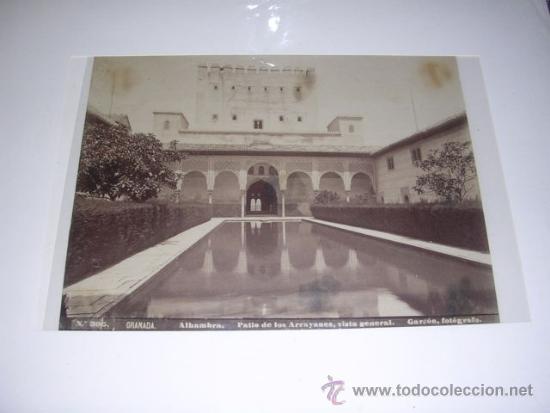 Nº 305 GRANADA ALHAMBRA PATIO DE LOS ARRAYANES ,VISTA GENERAL. GARZON FOTGRAFO 21X16,5 CM. (Fotografía Antigua - Albúmina)