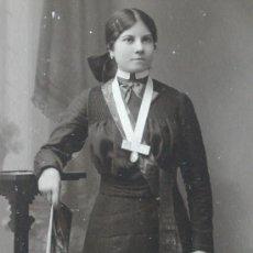 Fotografía antigua: CHICA JOVEN DE ZARAGOZA. FOTO AUSTRÍACA 6,8 X 14,8 CM. Lote 36591475
