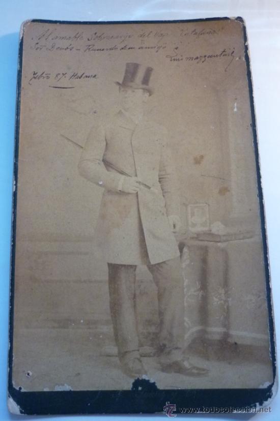 MATADOR DE TOROS LUIS MAZZANTINI, DEDICATORIA Y AUTÓGRAFO. FOTOGRAFO J.A. SUAREZ. HABANA. AÑO 1887 (Fotografía Antigua - Albúmina)