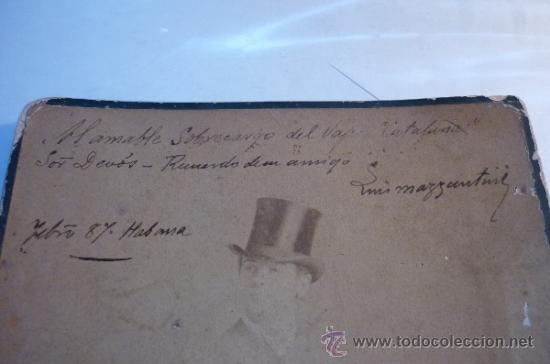 Fotografía antigua: MATADOR DE TOROS LUIS MAZZANTINI, DEDICATORIA Y AUTÓGRAFO. FOTOGRAFO J.A. SUAREZ. HABANA. AÑO 1887 - Foto 3 - 44641965