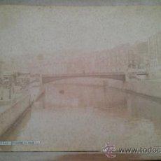 Fotografía antigua: CA. 1880. ALBUMINA. PUENTE SOBRE LA RIA. J. PUIG BILBAO VIZCAYA. Lote 38963017