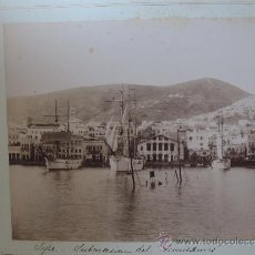 Fotografía antigua: DOS FOTOGRAFIAS ALBUMINAS DE SMYRNA, IZMIR (TURQUIA) Y SYRA SYROS (GRECIA) AÑO 1880 APROX. FOTOGRAFI. Lote 39185002