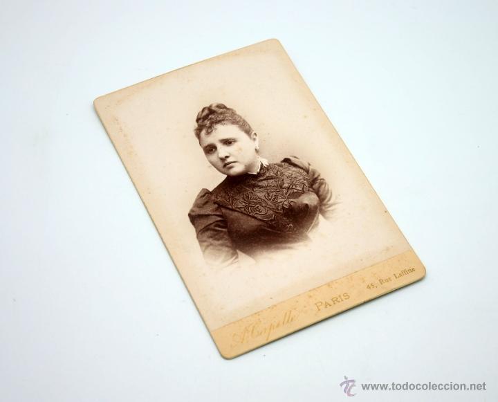 FOTOGRAFÍA ANTIGUA DE SEÑORITA MERCEDES LAPATO DE PEÓN. PARÍS 11 DE DIC. 1889. A. CAPELLE. (Fotografía Antigua - Albúmina)