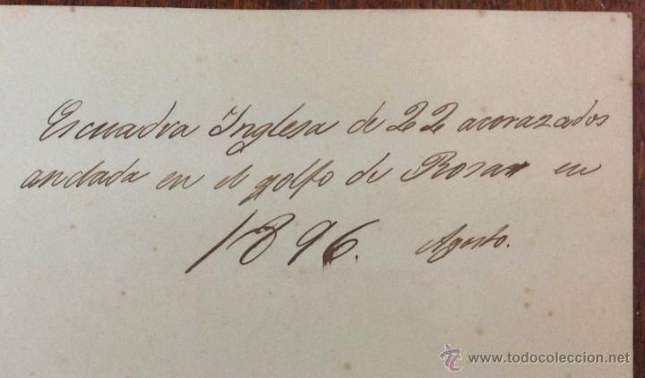 Fotografía antigua: 2 FOTOGRAFÍAS. BARCOS. ESCUADRA INGLESA DE 22 ACORAZADOS ANCLADA EN EL GOLFO DE ROSAS, AGOSTO 1896 - Foto 3 - 39967015