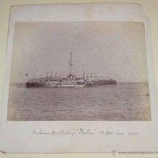 Fotografía antigua: 3 FOTOGRAFIAS ALBUMINA - UNA DEL BARCO ITALIANO ITALIA DE 15.900 TONS - ITALIAN BATTLESHIP ITALIA - . Lote 38250825