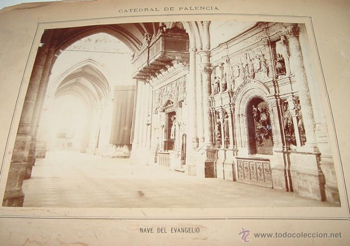 ANTIGUA FOTOGRAFIA ALBUMINA DE LA CATEDRAL DE PALENCIA . NAVE DEL EVANGELIO - MIDE 22,5 X 16 CMS. CO (Fotografía Antigua - Albúmina)