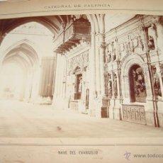 Fotografía antigua: ANTIGUA FOTOGRAFIA ALBUMINA DE LA CATEDRAL DE PALENCIA . NAVE DEL EVANGELIO - MIDE 22,5 X 16 CMS. CO. Lote 38254838
