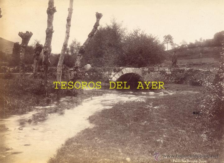 ANTIGUA FOTOGRAFIA ALBUMINA ORIGINAL DEL FOTOGRAFO FRANCISCO ZAGALA, PONTE DOS DEMOS, POYOS, PONTEVE (Fotografía Antigua - Albúmina)