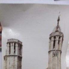 Fotografía antigua - 2 FOTOGRAFIAS, FINALES S. XIX, DE LAS TORRES DE LA CATEDRAL DE BARCELONA Y LA AUDIENCIA. ALBUMINAS. - 40443636