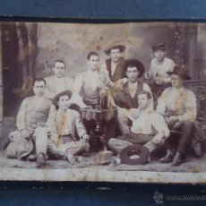 Fotografía antigua: TAUROMAQUIA.MALLORCA.VALENCIA.FOTO 17X25CM.'JULIO APARICI *FABRILO* Y SU CUADRILLA .AUTOGRAFOS 1891. Lote 40527900