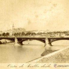 Fotografía antigua: SEVILLA. E. BEAUCHY. VISTA DE SEVILLA DESDE TRIANA. Lote 40856729