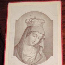 Fotografía antigua: ANTIGUA FOTOGRAFIA ALBUMINA TIPO CDV DE VIRGEN - MIDE 10,5 X 6,4 CMS.. Lote 41039459