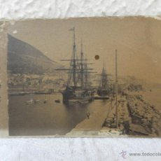 Fotografía antigua: FOTOGRAFÍA DE BARCOS EN PUERTO DE GIBRALTAR. SOBRE CARTÓN.. Lote 41234124