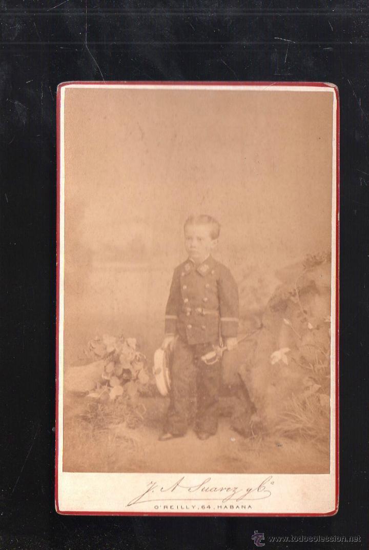 FOTOGRAFIA DE NIÑO VESTIDO DE OFICIAL ESPAÑOL. TRAJE DE GALA. CUBA. 1878. J.A.SUAREZ Y CIA, HABANA (Fotografía Antigua - Albúmina)