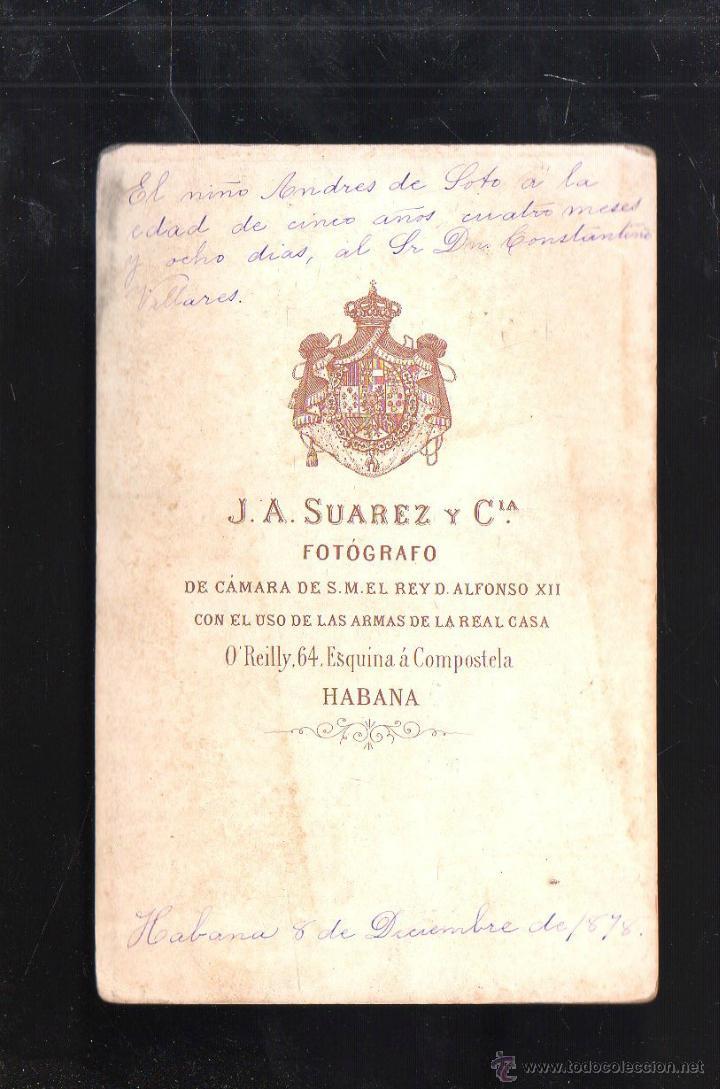 Fotografía antigua: FOTOGRAFIA DE NIÑO VESTIDO DE OFICIAL ESPAÑOL. TRAJE DE GALA. CUBA. 1878. J.A.SUAREZ Y CIA, HABANA - Foto 2 - 41278903
