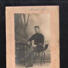 Fotografía antigua: FOTOGRAFIA DE UN MILITAR ESPAÑOL. FOTOGRAFIA GRECIA, TETUAN. 12 X 18CM.. Lote 41278957
