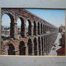 Fotografía antigua: FOTOGRAFÍA ILUMINADA COLOREADA. ACUEDUCTO SEGOVIA.- SIGLO XIX. . Lote 41473471