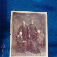 Fotografía antigua: FOT GRUPO FAMILIAR CON MILITAR S. XIX , FOTO JOSE BASTIDE DE GIJON 15 X 11 ASTURIAS. Lote 29390512