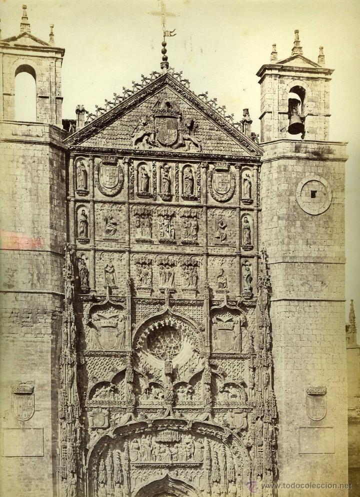 Fotografía antigua: 2 FOTOGRAFIAS VALLADOLID CASA DE COLON Y FACHADA DE SAN PABLO LAURENT - Foto 2 - 42465503