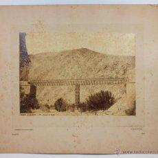 Fotografía antigua: MADRID A ZARAGOZA, 152, PUENTE DE EMBID. CALATAYUD. FOTO DE JUAN LAURENT, 1858-65. SOPORTE 44X54. Lote 42501626